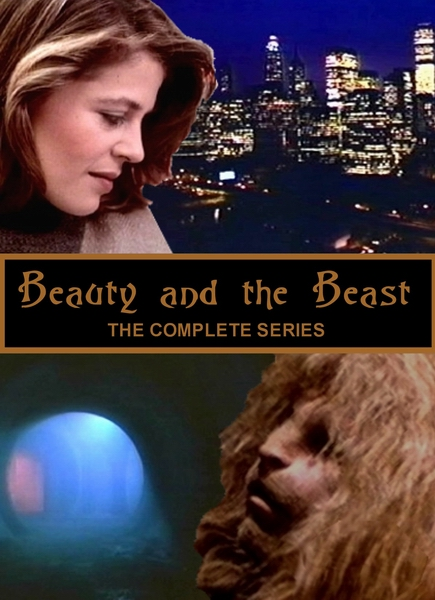 similar to the official cover art, except with a realistic version of Vincent, lower right looking up at Catherine and a tunnel we recognize lower left; Catherine upper left looking down at Vincent, lower right; NYC skyline upper right; text center Beauty and the Beast in script font, centered with The Complete Series beneath it in sans-serif caps