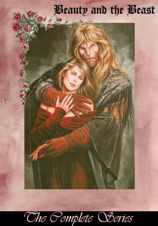 the Olivia painting with a pink/lavender border; gothic font, top right: Beauty and the Beast ; script font bottom center: The Complete Series