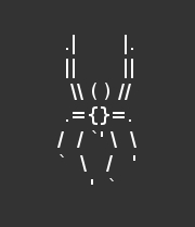 An ASCII design of a mischievous spider.